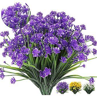 8 חבילות בחוץ פרחים מלאכותיים מזויפים שיחים צמחים עמידים Uv, ירק פלסטיק מלאכותי (סגול)