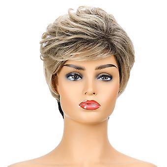 Brand Mall peruukit, pitsi peruukit, realistinen pörröinen lyhyt kiharat hiukset sekaväri peruukit