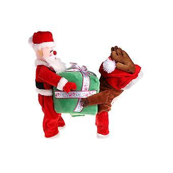 Vtipné pet psie oblečenie Santa Claus nesúci darčekovú krabicu kostým Fancy Šteňa Oblečenie
