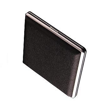 Cigarette Case, Black Leather Surface Metal Box(hold 20 Cigarette)