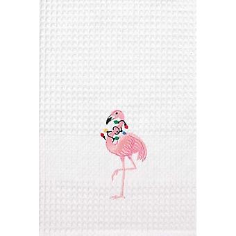 Tropical Pink Flamingo Christmas Lights Embroidered Waffle Weave Kitchen Towel