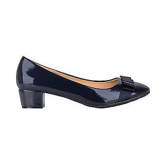 KRISP Womens Low Block Heel Bow Patent Courts Ladies Work Party Ballerina Pumps Shoes