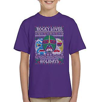 3 Ninjas Masks Holidays Christmas Knit Pattern Kid's T-Shirt