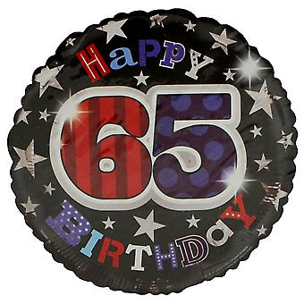 Simon Elvin Star Pattern Happy 65th Birthday Foil Balloon