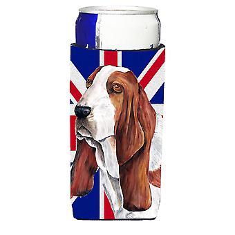 Basset Hound mit englischen Union Jack britische Flagge Ultra Getränke Isolatoren für