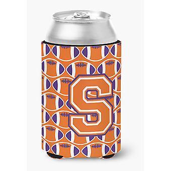 Letter S Football Orange, White and Regalia Can or Bottle Hugger