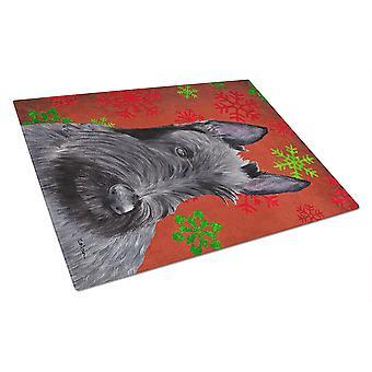 Terrier écossais rouge et vert flocons de neige Noël verre planche Large