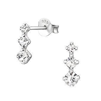 Bar - 925 Sterling Silver Crystal Ear Studs - W26520X