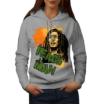 Bob Marley pokoju kobiety Rasta GreyHoodie | Wellcoda