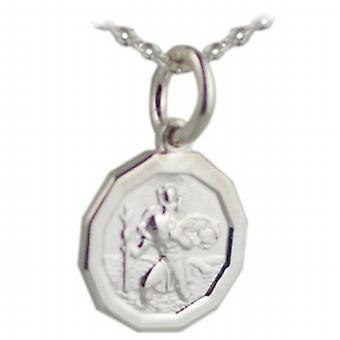 Silver 13x13mm dodecagonale St Christopher Pendant con un rolo Chain 24 pollici