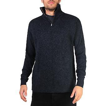 KRISP Mens Soft Wool Knit Half Zip Funnel Neck Pull Top Grandad Pullover Top