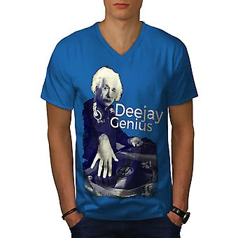 DJ Genius Funy Music Men Royal BlueV-Neck T-shirt | Wellcoda