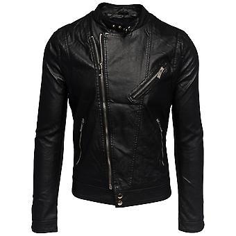 Mens jakke kunstskinn leatherjacket faux skinn svart sølv