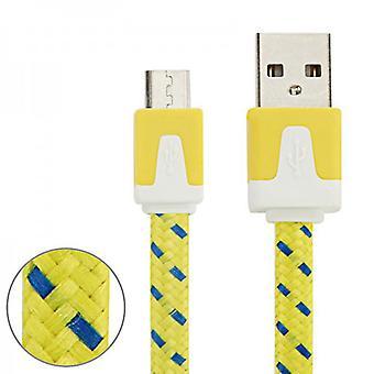 2 м USB данных и зарядный кабель желтый для всех смартфонов и планшетных микро USB