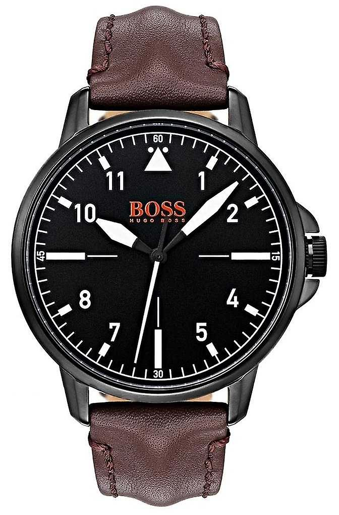 Hugo Boss Orange Black Dial Dark Brown Leather Strap Black IP Coated Case 1550062 Watch