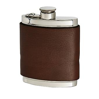 6Oz Bourneville Leather Captive Top Pewter Flask