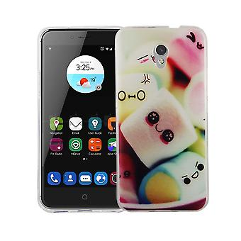 Cas de téléphone portable pour ZTE lame V7 la couverture de l'affaire sac de protection motif slim silicone TPU lettrage guimauves