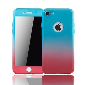 Apple iPhone 8 Handy-Hülle Schutz-Case Full-Cover Panzer Schutz Glas Blau / Rot