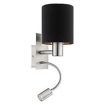 Eglo Pasteri Bedside LED Wall Reading Lamp With Black And Copper Shade