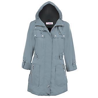 Ladies Turn Up Long Sleeve Detachable Hood Shower Proof Women's Coat Jacket