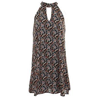 Ladies ärmellos Chiffon gefüttert Bluse Flare Tunika Streifen Paisley Floral Mini-Kleid