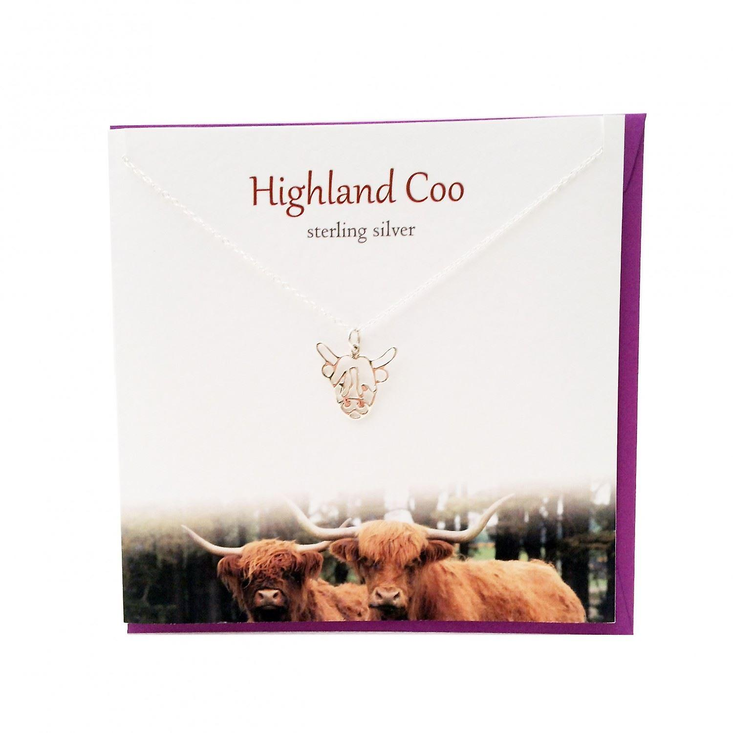 The Silver Studio Scottish Collection Highland Coo Pendant Card