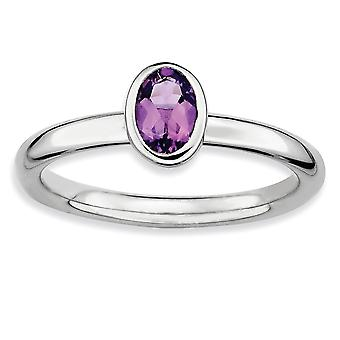 925 Sterling Silver Bezel Polished Rhodium plated Stackable Expressions Oval Amethyst Ring Jewelry Gifts for Women - Rin
