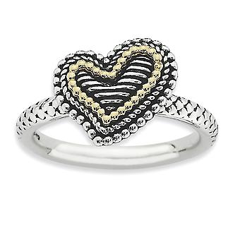 2.5mm 925 Sterling Silver Polished finish and 14k Stackable Expressions Love Heart Ring Jewelry Gifts for Women - Ring S