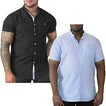 Duke D555 Mens Dwight King Size Big Tall Collarless Oxford Shirt Top