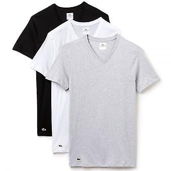 Lacoste Essentials coton Supima lot de 3 T-Shirt col v Slim Fit, noir/gris/blanc, grand