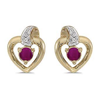 LXR 10k keltainen kulta pyöreä rubiini ja timantti sydän korvakorut 0.24ct