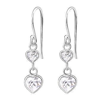 Pendaison de cœur - en argent Sterling 925 zircon boucles d'oreilles - W6028X