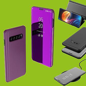 Pentru Samsung Galaxy S10 Lite/S10E G970F 5,8 inch clar vedere oglindă Smart Cover Purple cauza caz de trezire trezeste-te