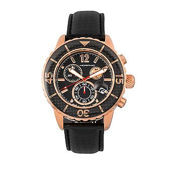 Morphic M51 Series Chronograph Leather-Band Watch w/Date - Rose Gold/Black