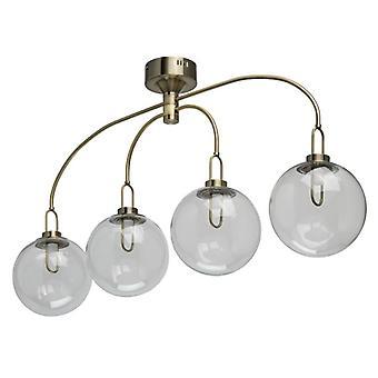 Glasberg - ottone anticato LED quattro luce semi-incasso plafoniera con tonalità di vetro 657011704