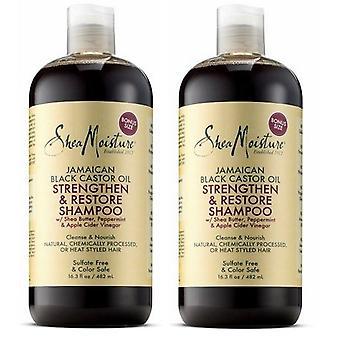 Shea Moisture Jamaican Black Castor Oil Strengthen & Restore Shampoo 482ml (2-Pack)