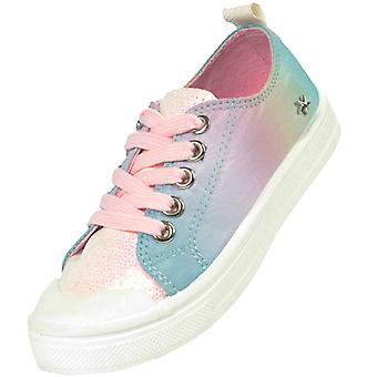 Girls rainbow pastel colour sparkly trainers