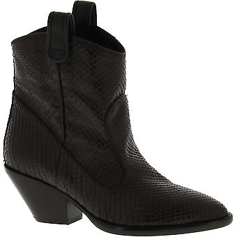 Giuseppe Zanotti Women's mid calf heeled boots in dark brown python leather