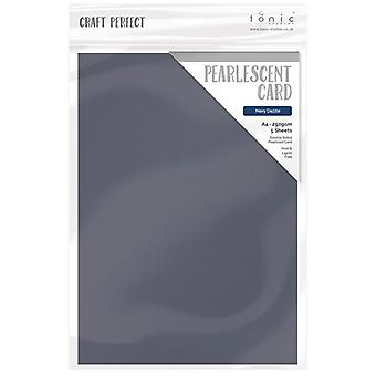 Craft Perfect Tonic Studios A4 Pearlescent Card Navy Dazzle | 5 Sheets