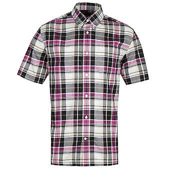 Fred Perry Black Madras Pink Tartan Short Sleeve Shirt