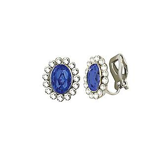 Eternal Collection Majesty Sapphire Blue Crystal Silver Tone Stud Clip On Earrings