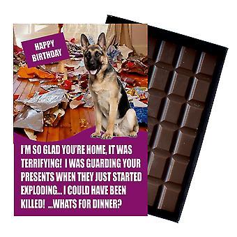 Owczarek niemiecki urodziny prezenty dla miłośnika psów Pudełkowane czekolada powitanie karta prezent
