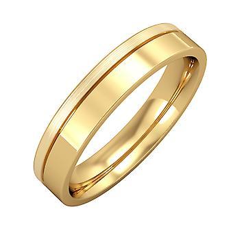 Jewelco London 9ct Yellow Gold - 4mm Flat-Court con Anello da sposa fine Groove