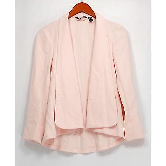 H de Halston Chaqueta manga larga abierta delantera plisada espalda rosa A303200