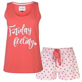 Rock and Rags Womens Vest Shorts Pyjama Set Ladies