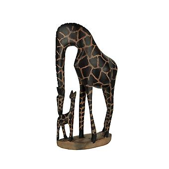 Hand Crafted Wood Bending Giraffe Family Mother and Calf Statue