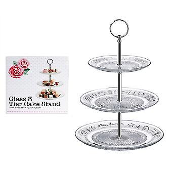 3 Tier Kuchen Stand am Nachmittag Tee Hochzeit Glasplatten Party Geschirr geprägt