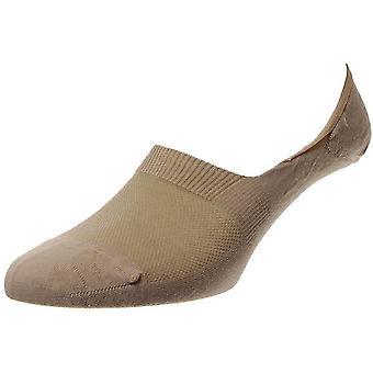 Pantherella Mahon Plain Merino Wool Invisible Socks - Light Khaki