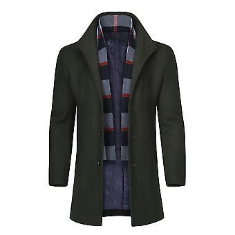 Allthemen Men's Slim Fit Single-Breasted Mid-Long Wool Blend Overcoat&Scarf