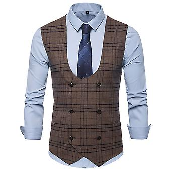 Homens allthemen ' s double-breasted xadrez U-Neck Business Vest terno casual